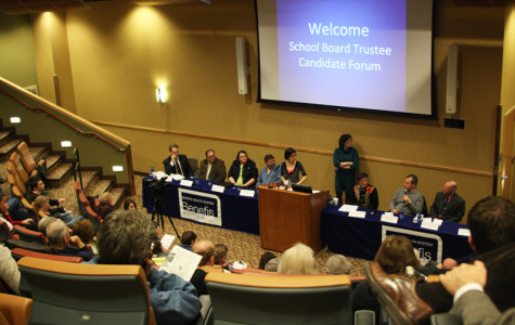 CMR junior Katie Hodges moderates the School Board Candidate Forum April 19 at Benefis Healthcare.