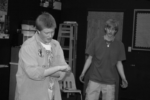 Juniors Kyle Wood and Drew Storrusten rehearse a scene from the upcoming production