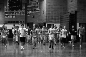 During the rainy, cold weather, the track and field team worked out in the fieldhouse.