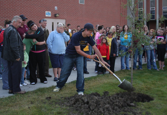 Austin Wanner's family members help plant a tree in his honor Sept. 13 at CMR.