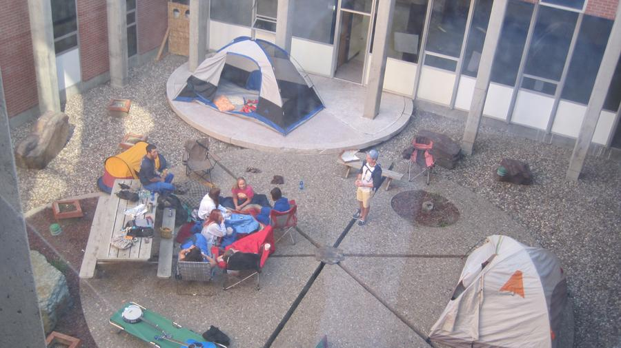 SENIORS+CAMP+OUT+IN+COURTYARD