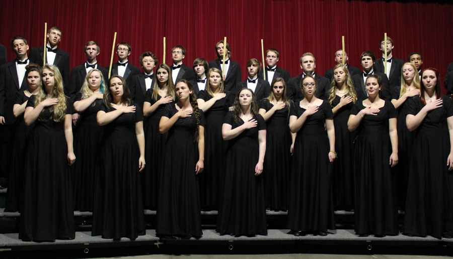 Members of the CMR Chanteur choir perform at the April 30 Performing Arts Assembly in Bill Williamson Hall.
