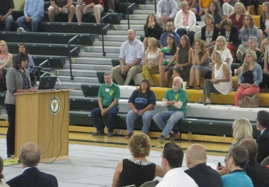 Montana+Superintendent+of+Public+Instruction+Denise+Juneau+addresses+the+GFPS+employees+on+Aug.+24.