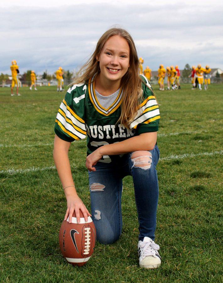 Aurora Oden of Sweden is being introduced to American football during her year in Montana.