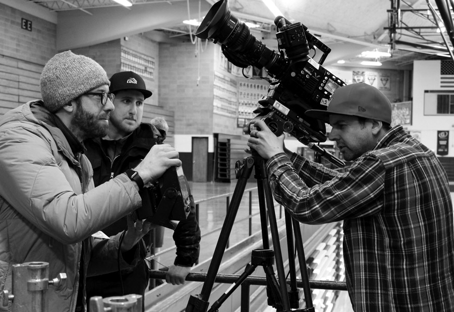 ESPN producer John MInton works with Bryan Brousseau and Jeff Grieshober to shoot a setting shot for the documentary centered around CMR graduate Ryan Leaf.
