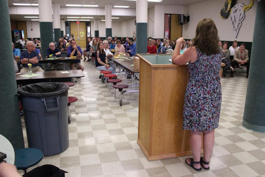 Math+department+leader+Terri+Dahl+speaks+to+the+CMR+staff+on+May+29+as+she+bids+farewell+after+almost+40+years+of+teaching+at+the+school.