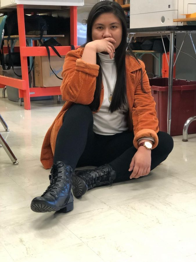 Sept. 24, 2019 -- 3.14/5 outfit.  I am such a snack that's why I am a pi out of five.  Also this iconic jacket is from Goodwill for two dollars. -- Gloria Baldevia