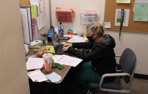 Nurse Jennifer Gunter works in her CMR office in September. Gunter came to CMR for the 2020-2021 school year.