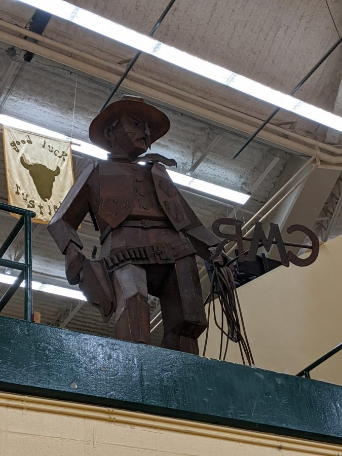 Branding blatantly represented and celebrated through the iron statue in the CMR gymnasium.